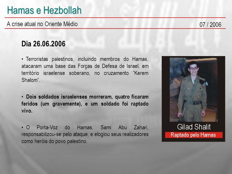 Hamas e Hezbollah A crise atual no Oriente Médio 07 / 2006 Terroristas palestinos, incluindo membros do Hamas, atacaram uma base das Forças de Defesa de Israel, em território israelense soberano, no cruzamento Kerem Shalom .
