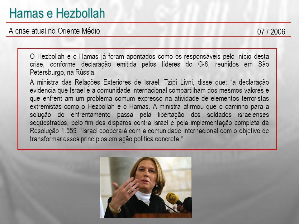 Hamas e Hezbollah A crise atual no Oriente Médio 07 / 2006 O Hezbollah e o Hamas já foram apontados como os responsáveis pelo início desta crise, conforme declaração emitida pelos líderes do G-8, reunidos em São Petersburgo, na Rússia.