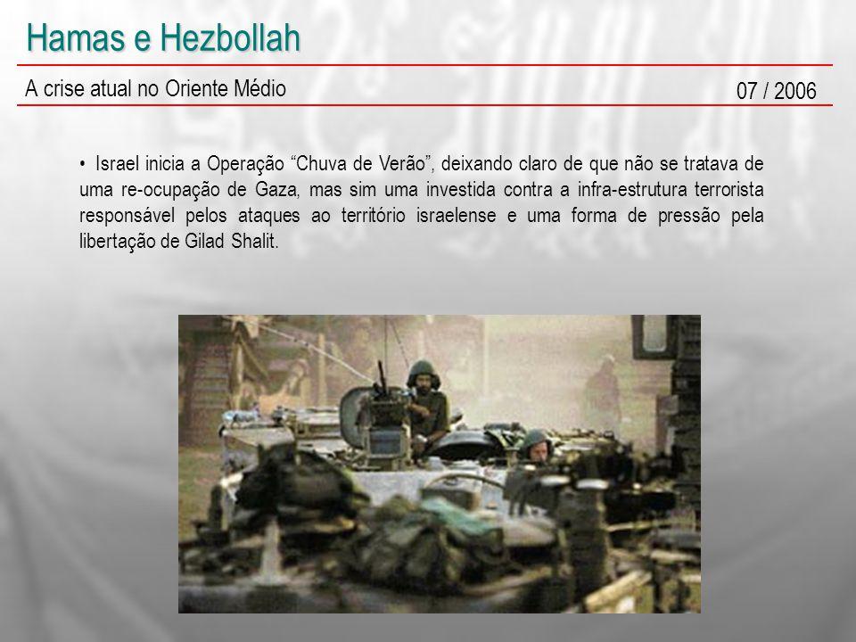 Hamas e Hezbollah A crise atual no Oriente Médio 07 / 2006 Israel inicia a Operação Chuva de Verão , deixando claro de que não se tratava de uma re-ocupação de Gaza, mas sim uma investida contra a infra-estrutura terrorista responsável pelos ataques ao território israelense e uma forma de pressão pela libertação de Gilad Shalit.