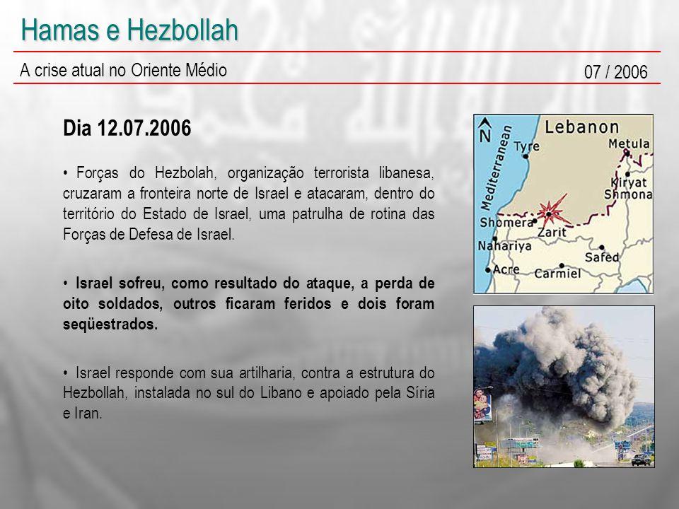 Hamas e Hezbollah A crise atual no Oriente Médio 07 / 2006 Forças do Hezbolah, organização terrorista libanesa, cruzaram a fronteira norte de Israel e atacaram, dentro do território do Estado de Israel, uma patrulha de rotina das Forças de Defesa de Israel.
