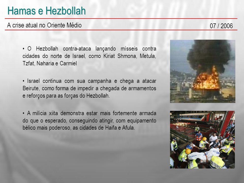 Hamas e Hezbollah A crise atual no Oriente Médio 07 / 2006 O Hezbollah contra-ataca lançando mísseis contra cidades do norte de Israel, como Kiriat Sh