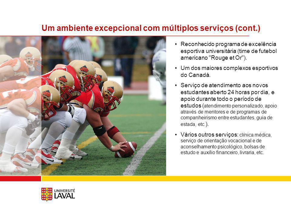 Reconhecido programa de excelência esportiva universitária (time de futebol americano Rouge et Or ).