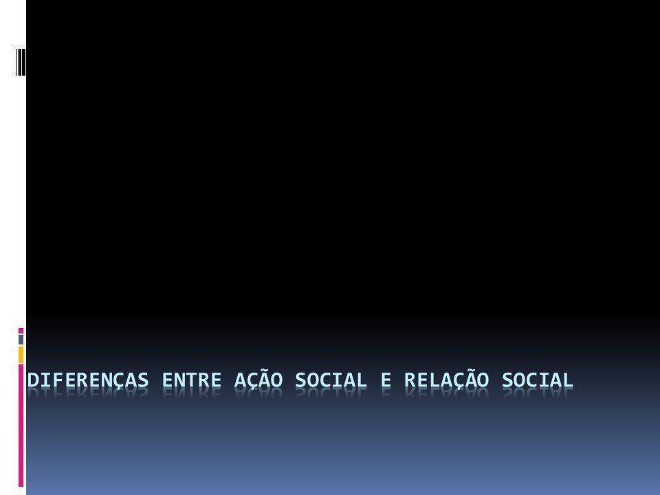 Conceito de ação social: Segundo Weber, não existe ação social quando esta não está orientada pela ação dos outros.