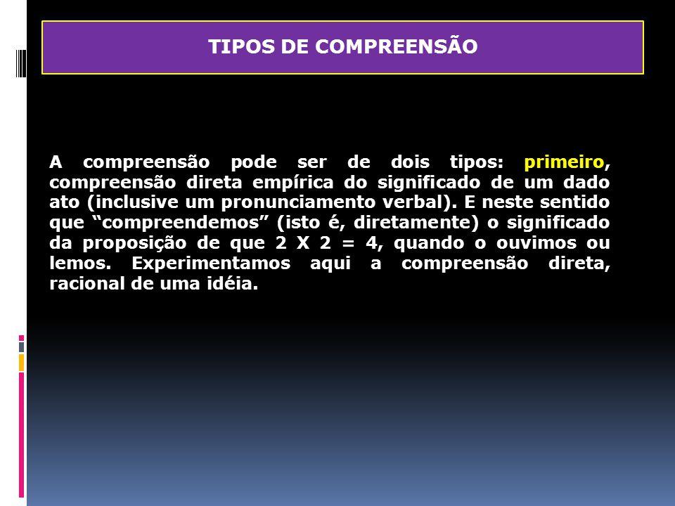 TIPOS DE COMPREENSÃO A compreensão pode ser de dois tipos: primeiro, compreensão direta empírica do significado de um dado ato (inclusive um pronuncia