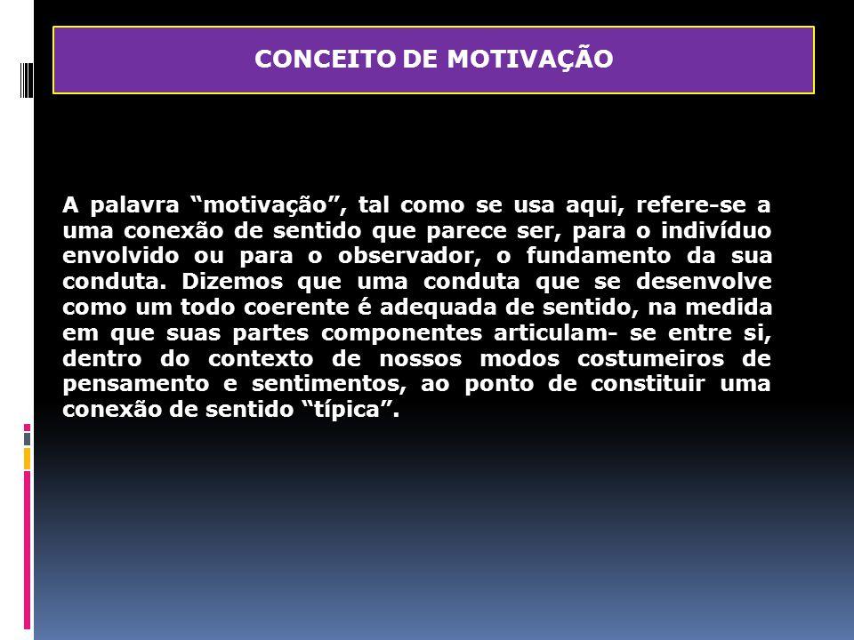 """CONCEITO DE MOTIVAÇÃO A palavra """"motivação"""", tal como se usa aqui, refere-se a uma conexão de sentido que parece ser, para o indivíduo envolvido ou pa"""