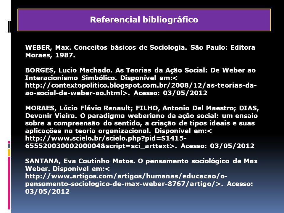 WEBER, Max. Conceitos básicos de Sociologia. São Paulo: Editora Moraes, 1987. BORGES, Lucio Machado. As Teorias da Ação Social: De Weber ao Interacion