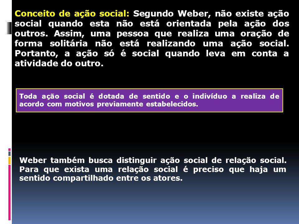 Conceito de ação social: Segundo Weber, não existe ação social quando esta não está orientada pela ação dos outros. Assim, uma pessoa que realiza uma
