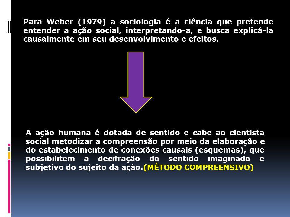 Para Weber (1979) a sociologia é a ciência que pretende entender a ação social, interpretando-a, e busca explicá-la causalmente em seu desenvolvimento