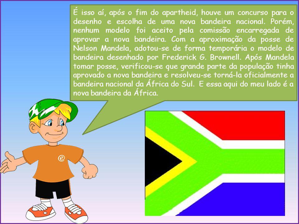 É isso aí, após o fim do apartheid, houve um concurso para o desenho e escolha de uma nova bandeira nacional. Porém, nenhum modelo foi aceito pela com
