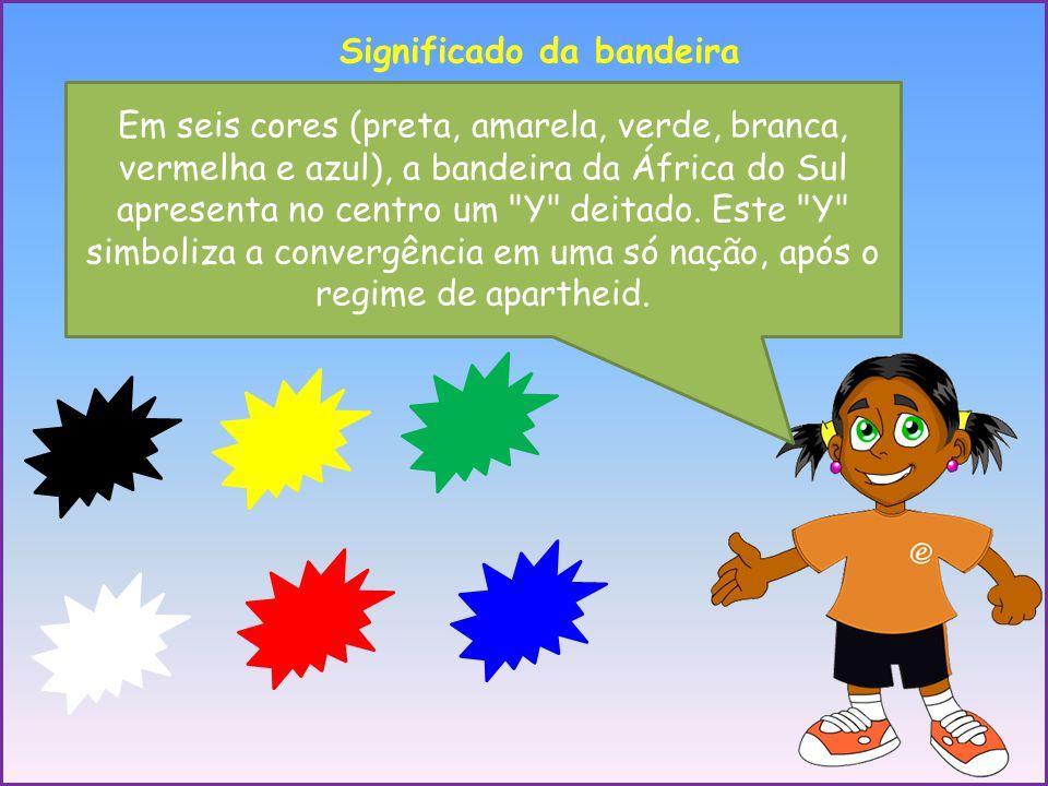 Significado da bandeira Em seis cores (preta, amarela, verde, branca, vermelha e azul), a bandeira da África do Sul apresenta no centro um