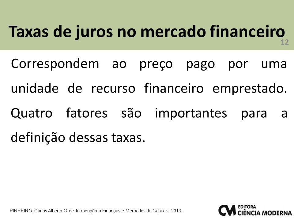 Taxas de juros no mercado financeiro 12 PINHEIRO, Carlos Alberto Orge. Introdução a Finanças e Mercados de Capitais. 2013. Correspondem ao preço pago