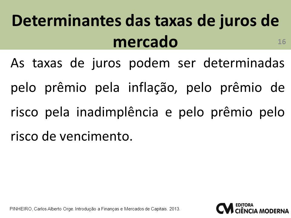 Determinantes das taxas de juros de mercado 16 PINHEIRO, Carlos Alberto Orge. Introdução a Finanças e Mercados de Capitais. 2013. As taxas de juros po