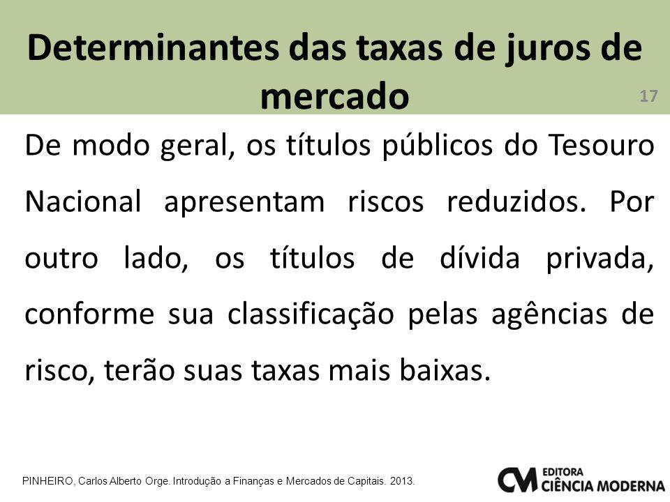 Determinantes das taxas de juros de mercado 17 PINHEIRO, Carlos Alberto Orge. Introdução a Finanças e Mercados de Capitais. 2013. De modo geral, os tí