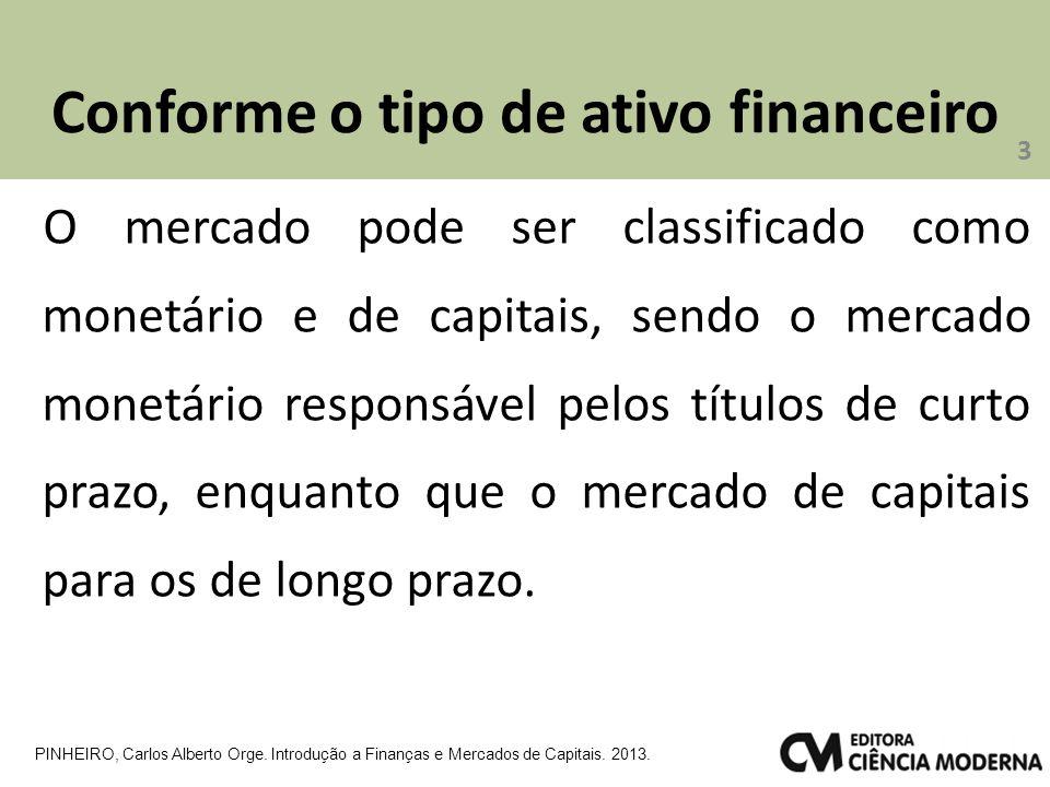 Conforme o tipo de ativo financeiro O mercado pode ser classificado como monetário e de capitais, sendo o mercado monetário responsável pelos títulos