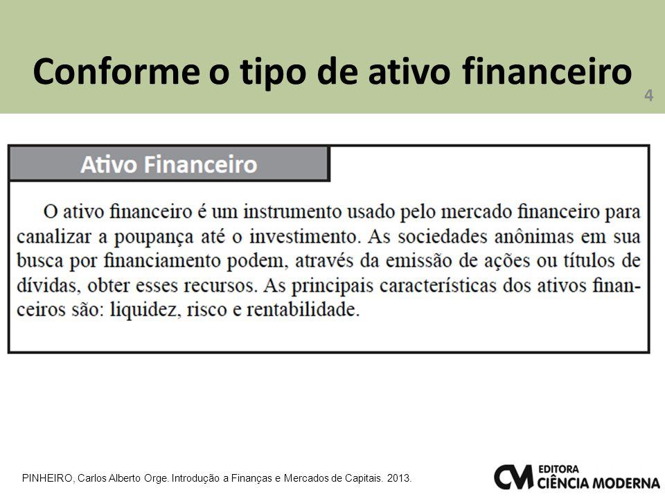 Conforme o tipo de ativo financeiro 4 PINHEIRO, Carlos Alberto Orge. Introdução a Finanças e Mercados de Capitais. 2013.