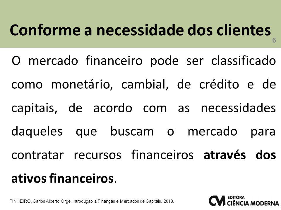 Conforme a necessidade dos clientes O mercado financeiro pode ser classificado como monetário, cambial, de crédito e de capitais, de acordo com as nec