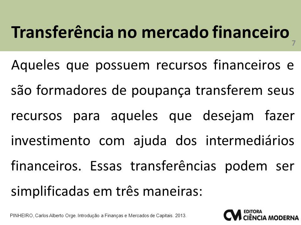 Transferência no mercado financeiro 7 PINHEIRO, Carlos Alberto Orge. Introdução a Finanças e Mercados de Capitais. 2013. Aqueles que possuem recursos