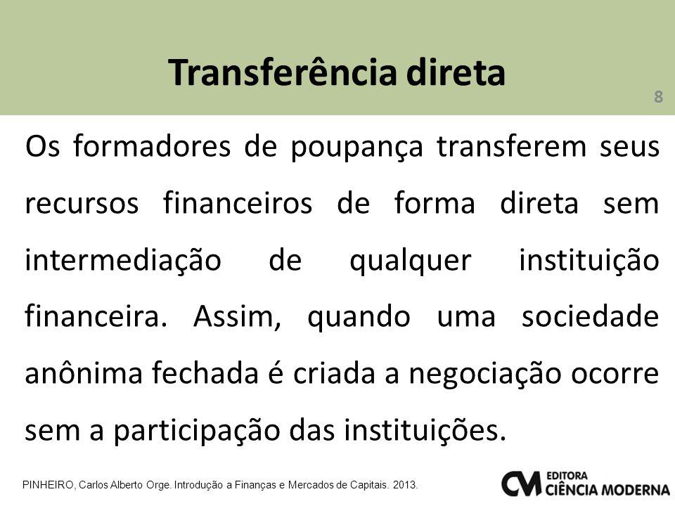 Transferência direta 8 PINHEIRO, Carlos Alberto Orge. Introdução a Finanças e Mercados de Capitais. 2013. Os formadores de poupança transferem seus re