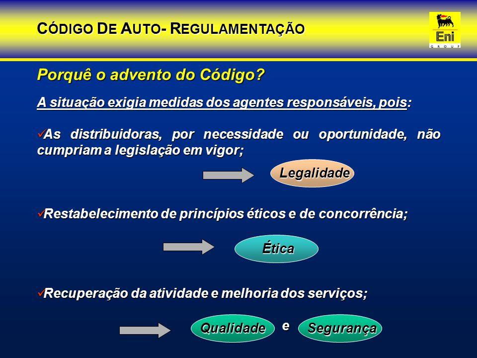 A situação exigia medidas dos agentes responsáveis, pois: As distribuidoras, por necessidade ou oportunidade, não cumpriam a legislação em vigor; As d