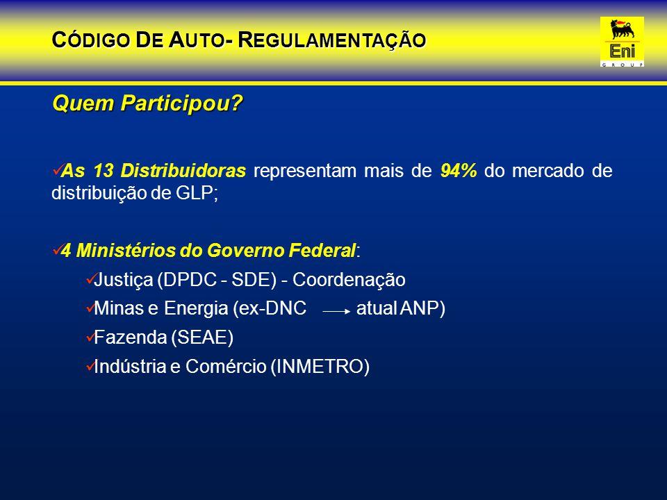 As 13 Distribuidoras representam mais de 94% do mercado de distribuição de GLP; 4 Ministérios do Governo Federal: Justiça (DPDC - SDE) - Coordenação M