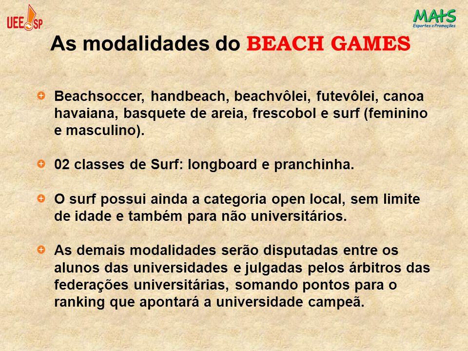 Beachsoccer, handbeach, beachvôlei, futevôlei, canoa havaiana, basquete de areia, frescobol e surf (feminino e masculino). 02 classes de Surf: longboa