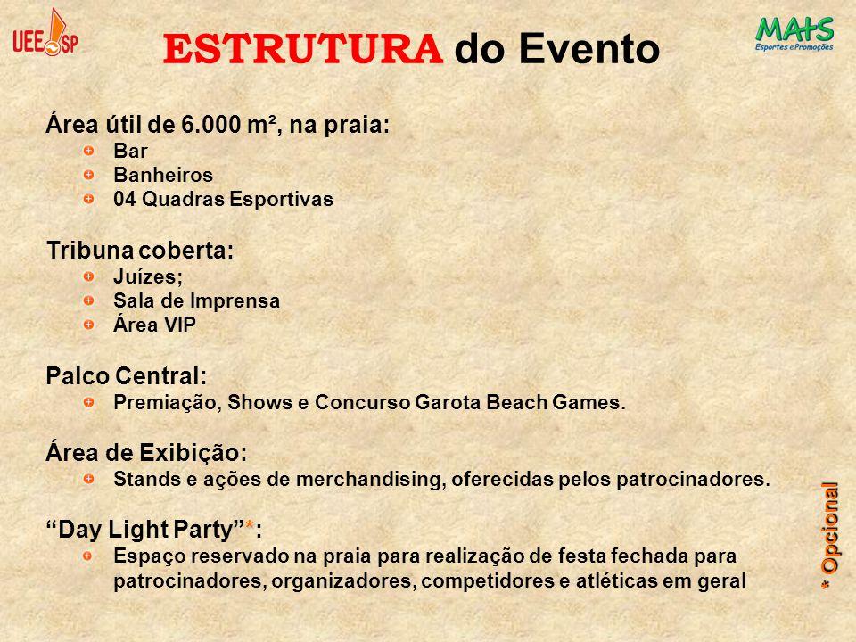 Área útil de 6.000 m², na praia: Bar Banheiros 04 Quadras Esportivas Tribuna coberta: Juízes; Sala de Imprensa Área VIP Palco Central: Premiação, Show