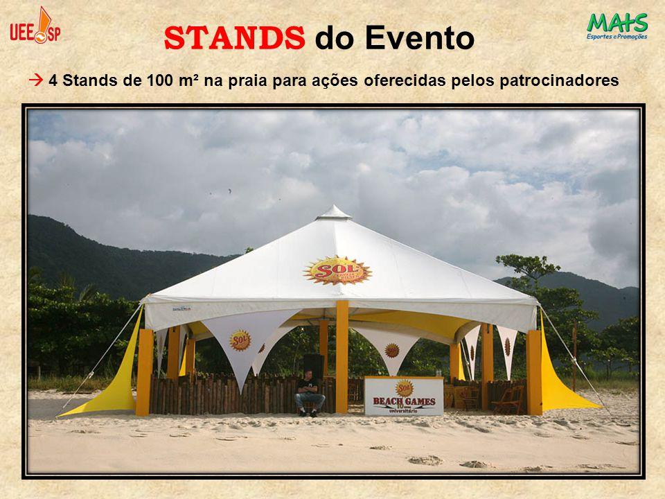  4 Stands de 100 m² na praia para ações oferecidas pelos patrocinadores STANDS do Evento