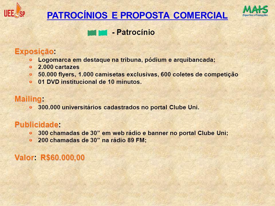 PATROCÍNIOS E PROPOSTA COMERCIAL - Patrocínio Exposição Exposição: Logomarca em destaque na tribuna, pódium e arquibancada; 2.000 cartazes 50.000 flye