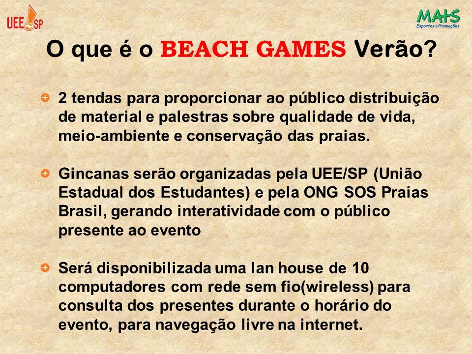 O que é o BEACH GAMES Verão ? 2 tendas para proporcionar ao público distribuição de material e palestras sobre qualidade de vida, meio-ambiente e cons