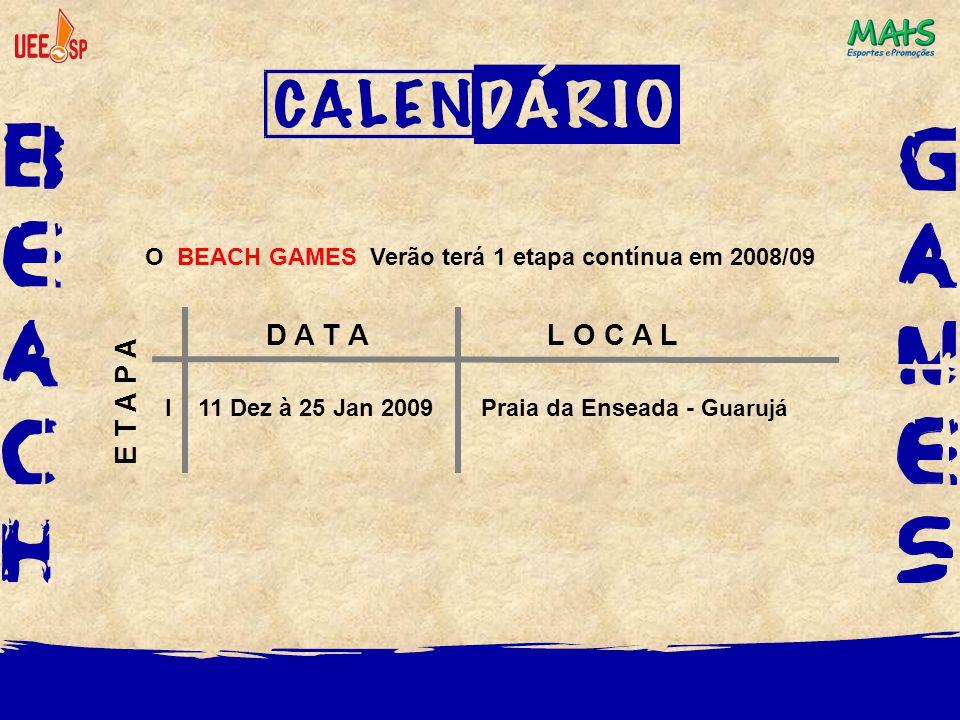 O BEACH GAMES Verão terá 1 etapa contínua em 2008/09 D A T A L O C A L E T A P A I 11 Dez à 25 Jan 2009 Praia da Enseada - Guarujá