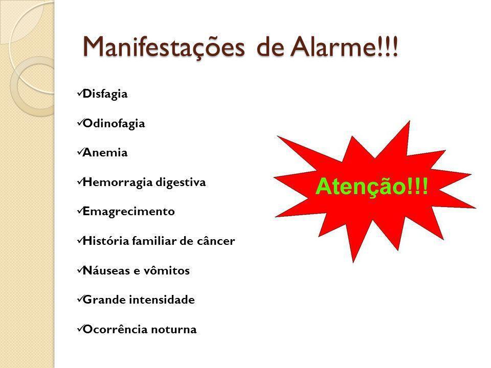 Manifestações de Alarme!!! Disfagia Odinofagia Anemia Hemorragia digestiva Emagrecimento História familiar de câncer Náuseas e vômitos Grande intensid