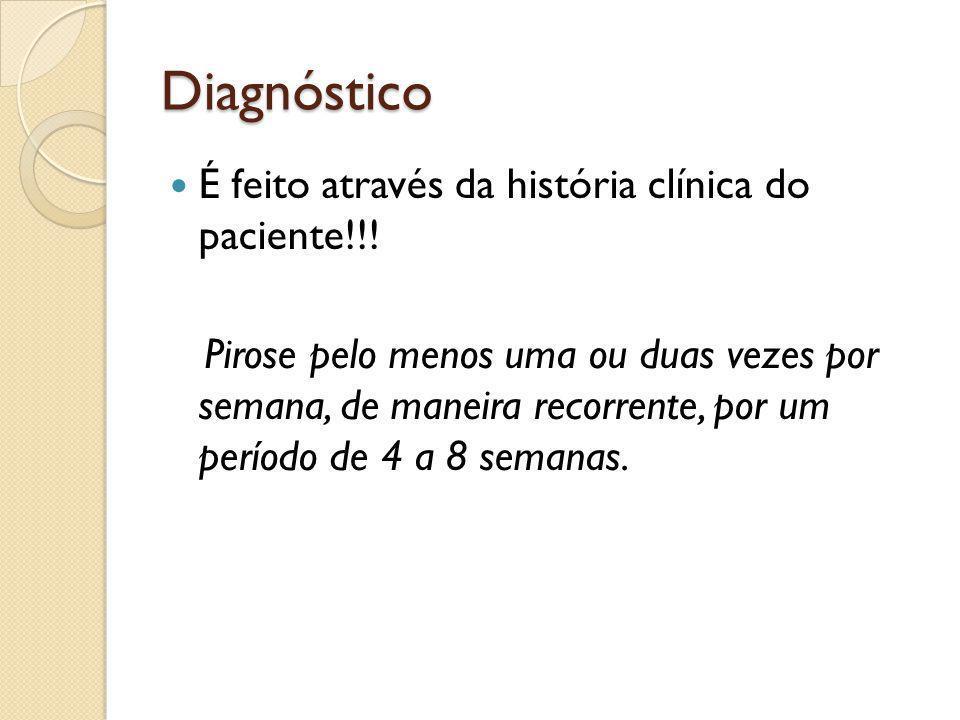 Diagnóstico É feito através da história clínica do paciente!!! Pirose pelo menos uma ou duas vezes por semana, de maneira recorrente, por um período d