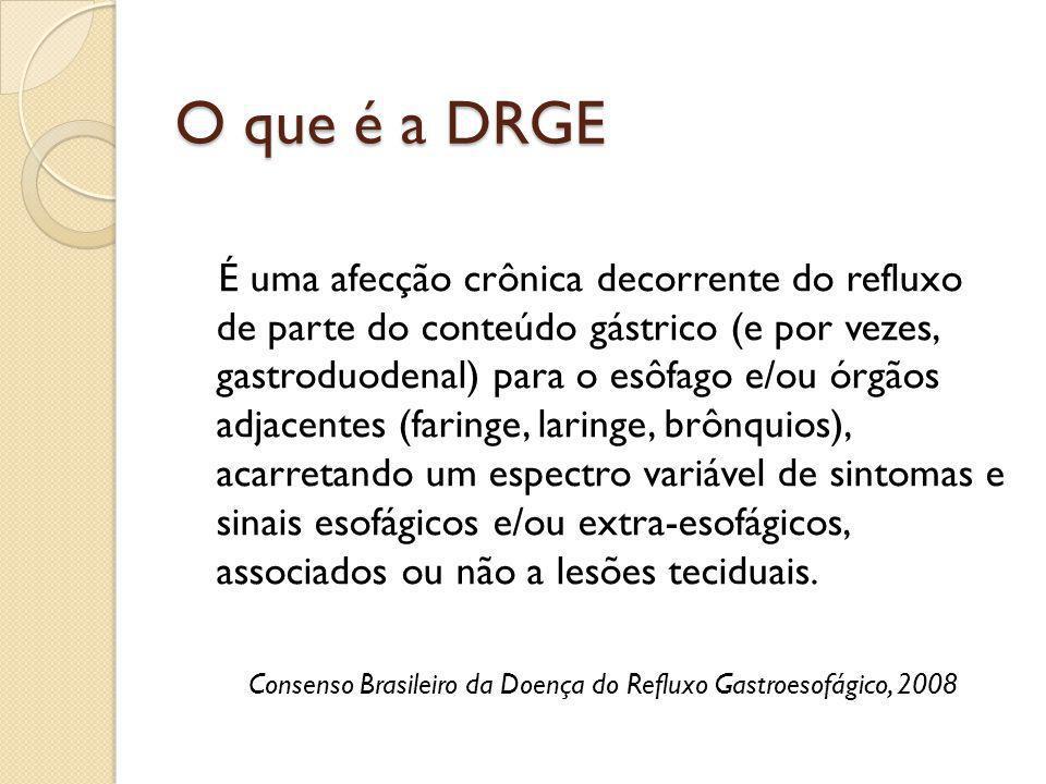 O que é a DRGE É uma afecção crônica decorrente do refluxo de parte do conteúdo gástrico (e por vezes, gastroduodenal) para o esôfago e/ou órgãos adja