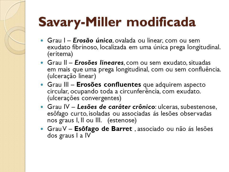 Savary-Miller modificada Grau I – Erosão única, ovalada ou linear, com ou sem exudato fibrinoso, localizada em uma única prega longitudinal. (eritema)