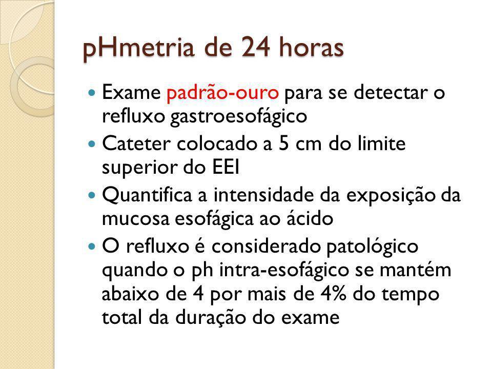 pHmetria de 24 horas Exame padrão-ouro para se detectar o refluxo gastroesofágico Cateter colocado a 5 cm do limite superior do EEI Quantifica a inten