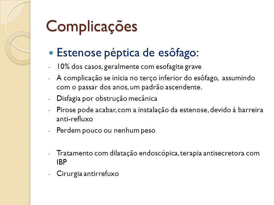 Complicações Estenose péptica de esôfago: - 10% dos casos, geralmente com esofagite grave - A complicação se inicia no terço inferior do esôfago, assu