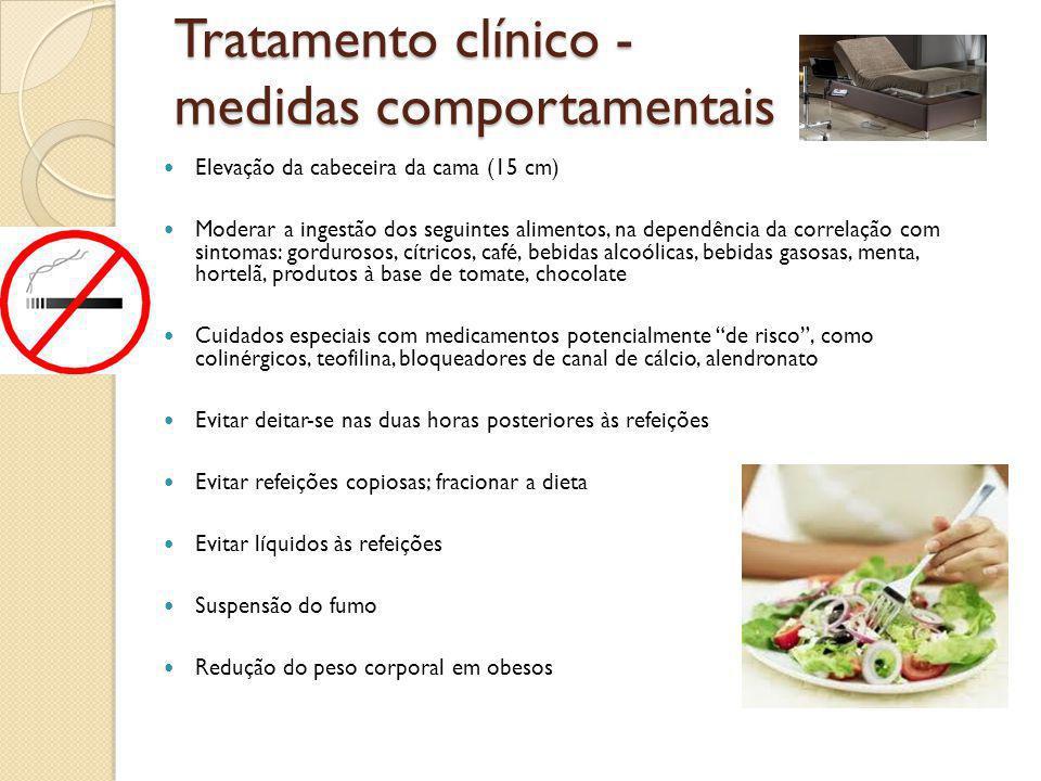 Tratamento clínico - medidas comportamentais Elevação da cabeceira da cama (15 cm) Moderar a ingestão dos seguintes alimentos, na dependência da corre