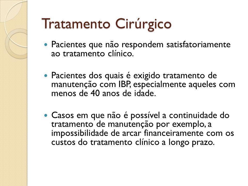 Tratamento Cirúrgico Pacientes que não respondem satisfatoriamente ao tratamento clínico. Pacientes dos quais é exigido tratamento de manutenção com I