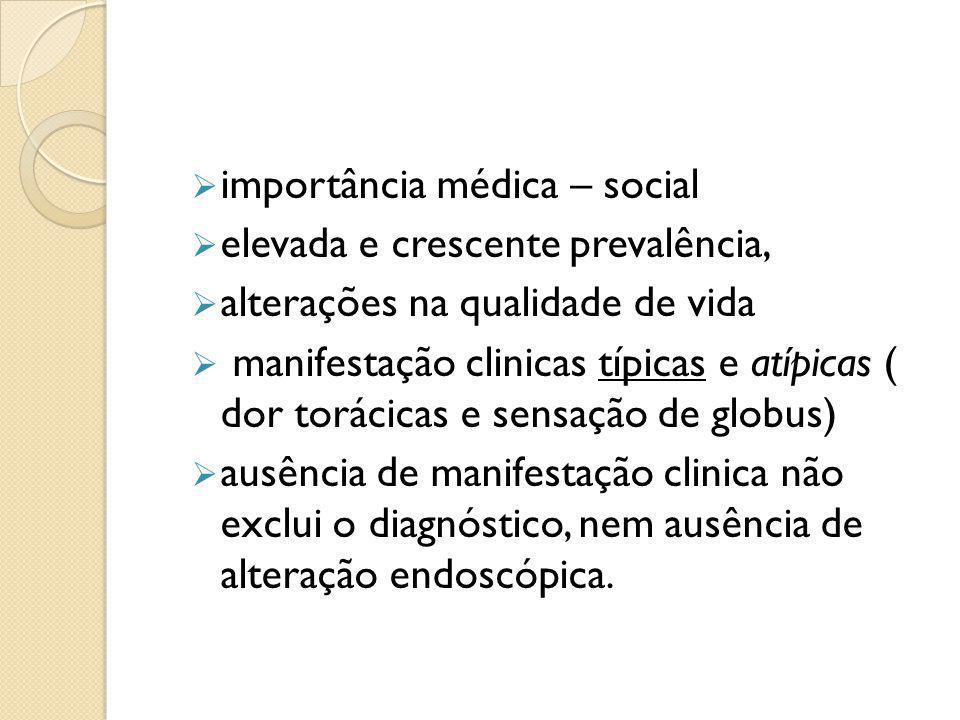  importância médica – social  elevada e crescente prevalência,  alterações na qualidade de vida  manifestação clinicas típicas e atípicas ( dor to