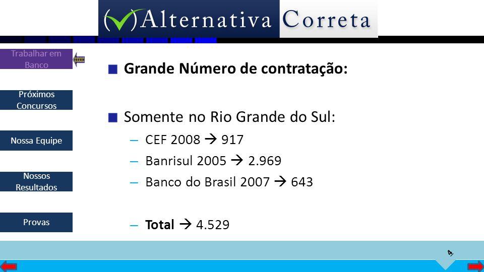 4 Próximos Concursos Nossa Equipe Nossos Resultados Trabalhar em Banco Provas Grande Número de contratação: Somente no Rio Grande do Sul: – CEF 2008 