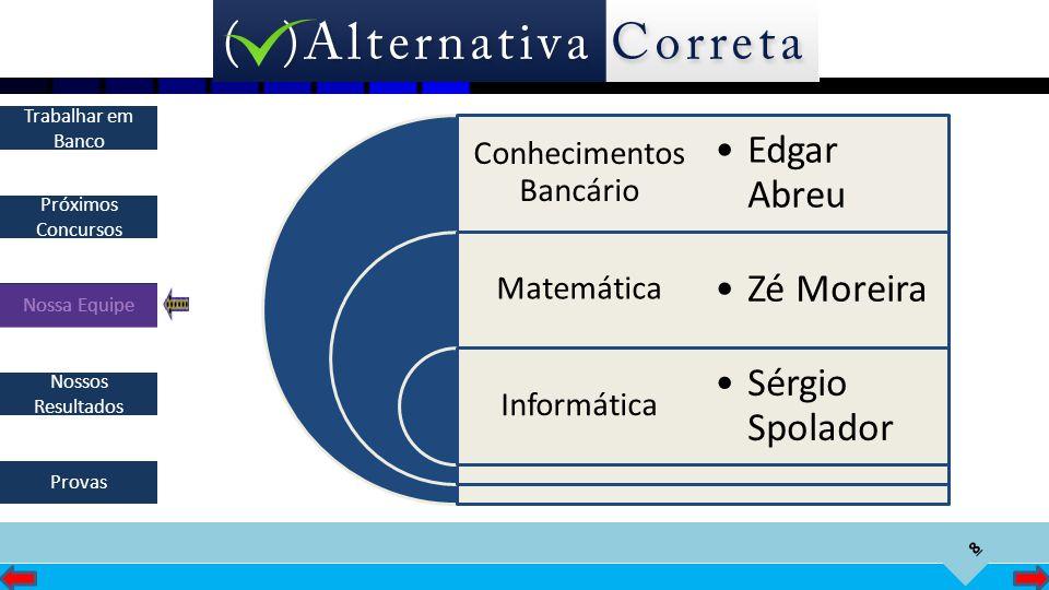 8 Próximos Concursos Nossa Equipe Nossos Resultados Trabalhar em Banco Provas Conhecimentos Bancário Matemática Informática Edgar Abreu Zé Moreira Sér