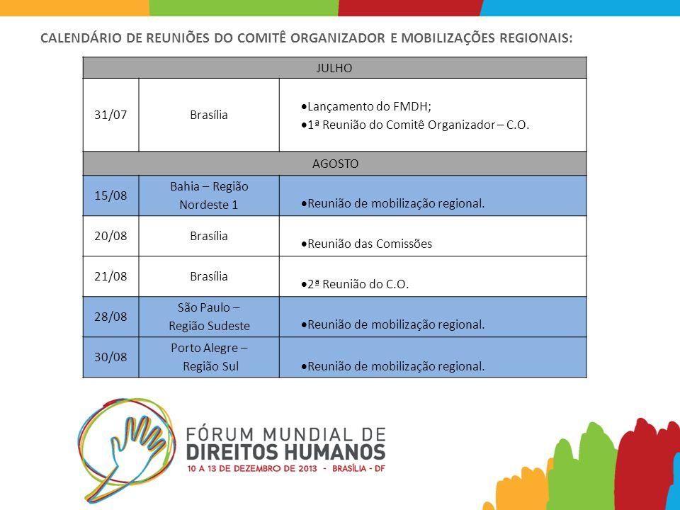 CALENDÁRIO DE REUNIÕES DO COMITÊ ORGANIZADOR E MOBILIZAÇÕES REGIONAIS: JULHO 31/07Brasília  Lançamento do FMDH;  1ª Reunião do Comitê Organizador – C.O.