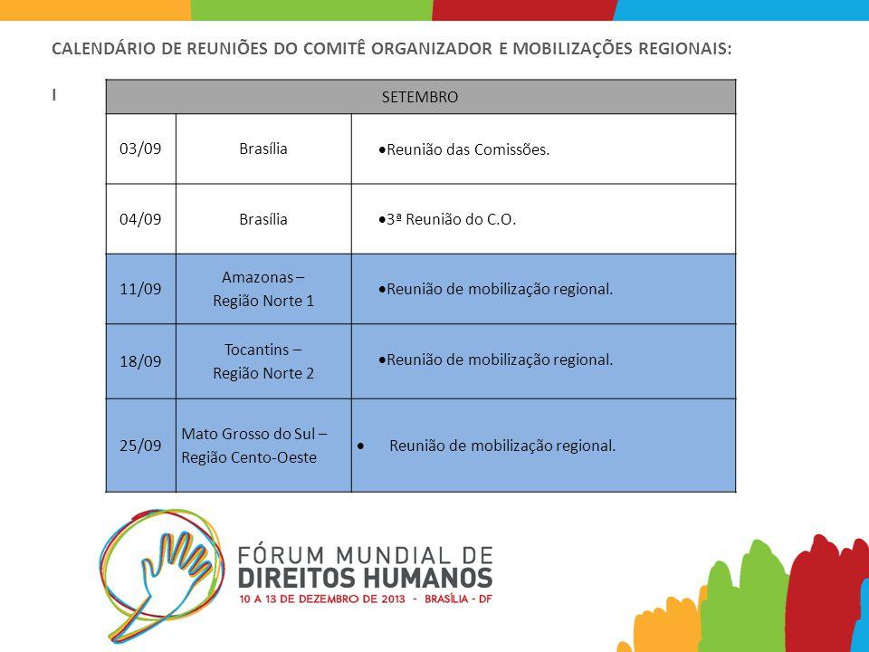 CALENDÁRIO DE REUNIÕES DO COMITÊ ORGANIZADOR E MOBILIZAÇÕES REGIONAIS: I SETEMBRO 03/09Brasília  Reunião das Comissões.