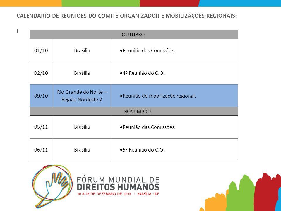 CALENDÁRIO DE REUNIÕES DO COMITÊ ORGANIZADOR E MOBILIZAÇÕES REGIONAIS: I OUTUBRO 01/10Brasília  Reunião das Comissões.