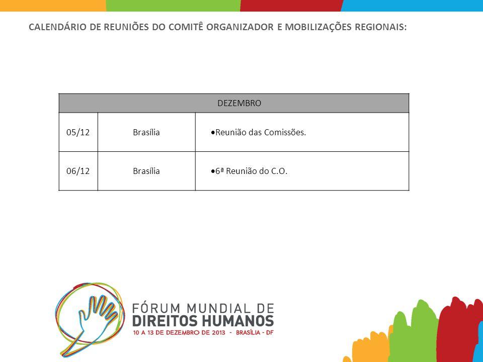 CALENDÁRIO DE REUNIÕES DO COMITÊ ORGANIZADOR E MOBILIZAÇÕES REGIONAIS: DEZEMBRO 05/12Brasília  Reunião das Comissões.
