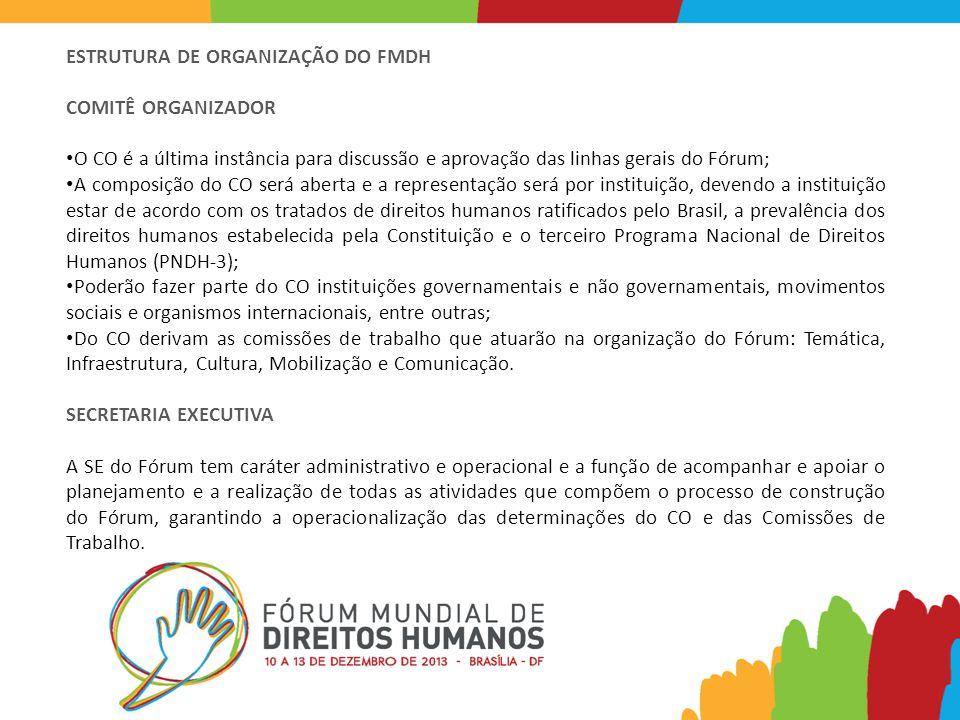 ESTRUTURA DE ORGANIZAÇÃO DO FMDH COMITÊ ORGANIZADOR O CO é a última instância para discussão e aprovação das linhas gerais do Fórum; A composição do CO será aberta e a representação será por instituição, devendo a instituição estar de acordo com os tratados de direitos humanos ratificados pelo Brasil, a prevalência dos direitos humanos estabelecida pela Constituição e o terceiro Programa Nacional de Direitos Humanos (PNDH-3); Poderão fazer parte do CO instituições governamentais e não governamentais, movimentos sociais e organismos internacionais, entre outras; Do CO derivam as comissões de trabalho que atuarão na organização do Fórum: Temática, Infraestrutura, Cultura, Mobilização e Comunicação.