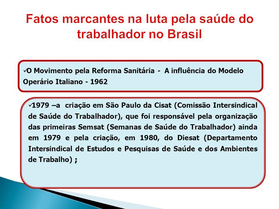 O Movimento pela Reforma Sanitária - A influência do Modelo Operário Italiano - 1962 ; 1979 –a criação em São Paulo da Cisat (Comissão Intersindical d