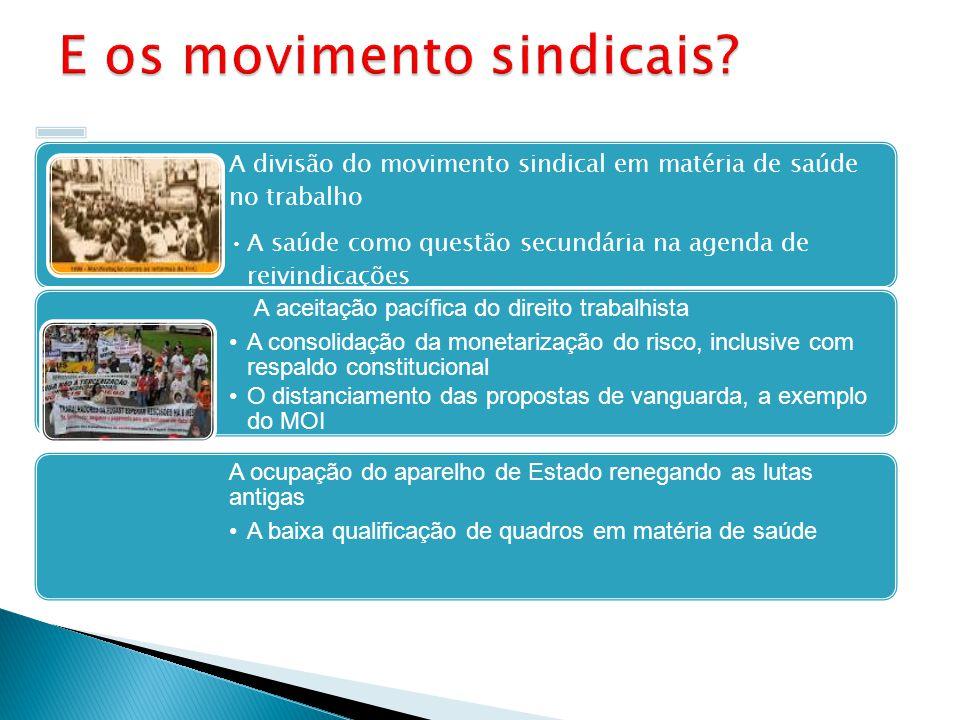 A divisão do movimento sindical em matéria de saúde no trabalho A saúde como questão secundária na agenda de reivindicações A aceitação pacífica do di