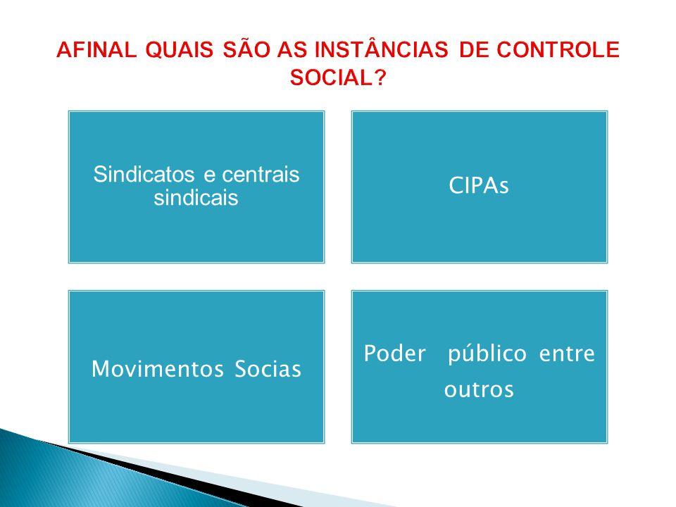 Sindicatos e centrais sindicais CIPAs Movimentos Socias Poder público entre outros