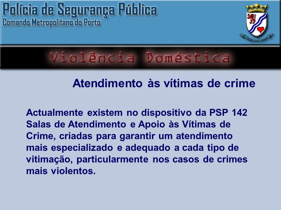 Actualmente existem no dispositivo da PSP 142 Salas de Atendimento e Apoio às Vítimas de Crime, criadas para garantir um atendimento mais especializado e adequado a cada tipo de vitimação, particularmente nos casos de crimes mais violentos.